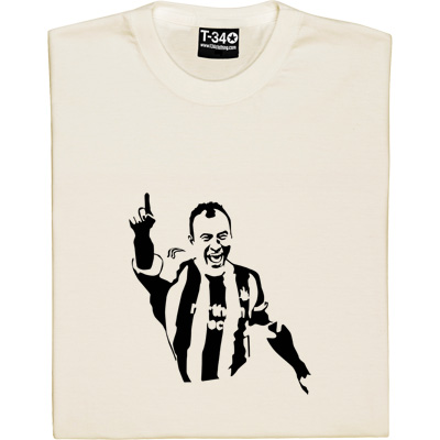 Alan Shearer T-Shirt. One of the greatest English strikers of all time and a firm St James' Park favourite. Our design depicts Shearer in the famous magpie strip holding his right arm aloft in that unmistakeably simple goal celebration that was seen 206 times during his spectacular career as a Toon Army legend.