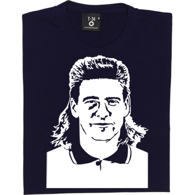 Chris Waddle T-Shirt. A Magpie favourite and England great, Waddle was one of the most prolific footballers of hairstyle don'ts, our design shows him complete with that infamous mullet.