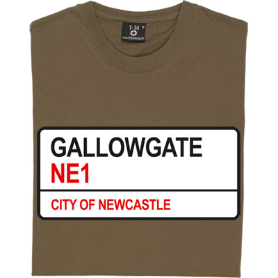 Gallowgate NE1 T-Shirt. The road sign for Newcastle's St. James' Park.