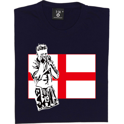 Gazza T-Shirt. Toon legend, Gazza depicted in front of a St. George's flag. Who could forget that moment during the 1990 World Cup Semi-Final against West Germany when a young Mr. Gascoigne's emotions got the better of him after having been shown a yellow card (which would have resulted in him missing the final if England had won)? One of the most enduring images of English football history, encapsulating the patriotism, poignancy and heartbreak that was felt by the entire nation.