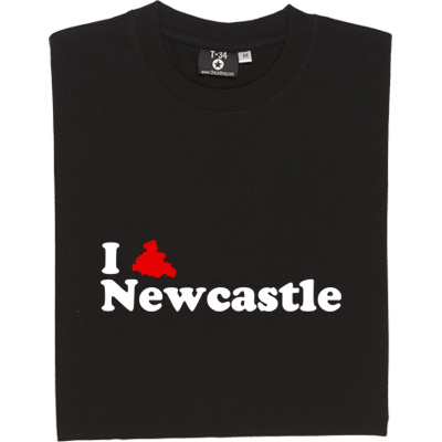 I Love Newcastle T-Shirt. Featuring an outline silhouette of the North East's favourite city.