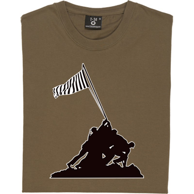 Iwo Jima Newcastle Flag T-Shirt. Based on the famous picture of the US at Iwo Jima, our design depicts soldiers of the Toon Army raising a flag of the colours of Newcastle United.