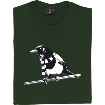 Magpie Brown/Hazelnut Men's T-Shirt. A Geordie Magpie wearing a black and white bar scarf. - click to zoom-in