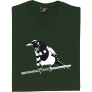 Magpie T-Shirt. A Geordie Magpie wearing a black and white bar scarf.