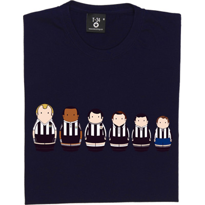 Newcastle United Home Kit Matryoshka Dolls T-Shirt. Six of the finest black and white home kits from the glorious...