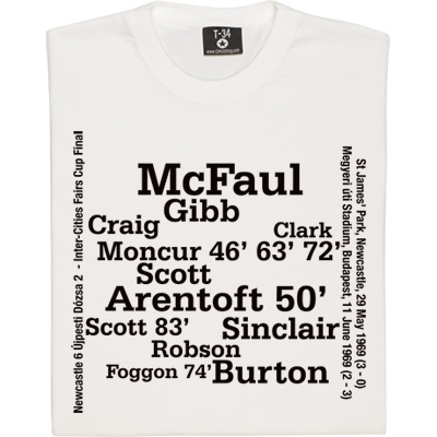 Newcastle '69 Inter Cities Fairs Cup Final Line Up T-Shirt. First Leg 29 May 1969, Newcastle United 3 Újpesti Dózsa 0. Second Leg 11 June 1969, Újpesti Dózsa 2. Newcastle United 3. Newcastle win 6-3 on aggregate. Featuring all the Newcastle players to play in this memorable game: McFaul, Craig, Clark, Gibb, Burton, Moncur, Scott, Robson, Davies, Arentoft, Sinclair and Foggon.