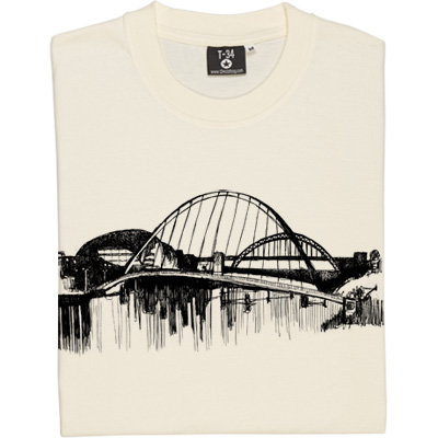 Tyne Skyline Sketch T-Shirt. A black and white town: an artistic sketch of the Tyne, showing the Gateshead Millennium Bridge in the foreground and the Tyne Bridge beyond, as seen from the banks of the river.