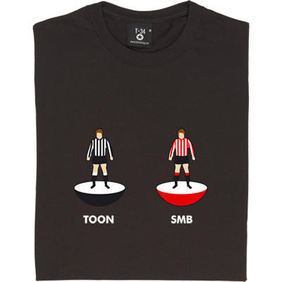Newcastle and Sunderland Table Football T-Shirt. Two table football figures. One wearing the colours of a truly great...