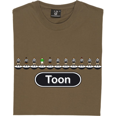 Newcastle United Table Football T-Shirt. Eleven players. Ten wearing black and white striped shirts, black shorts, black socks, one in green. Simply Newcastle United. You can choose to have the text as 'Toon' or 'United'.