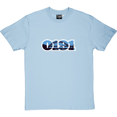 0191 Tyne Bridge Sky Blue Men's T-Shirt. The famous landmark over the River Tyne encapsulated in the UK telephone... - click to zoom-in