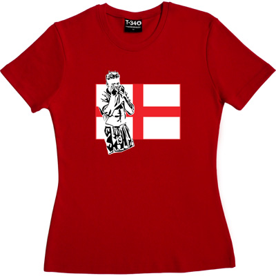 Gazza Red Women's T-Shirt. Toon legend, Gazza depicted in front of a St. George's flag. Who could forget that moment...