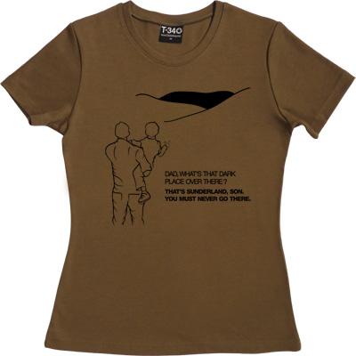 Geordie Dad And Lad Olive Women's T-Shirt. Dad, what's that dark place over there? That's Sunderland, son. You must...