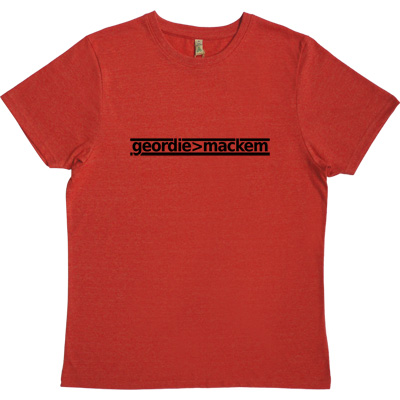 Geordie Greater Than Mackem Red 100% Recycled Men's T-Shirt. The simple formulae are often the most fundamental. This... - click to zoom-in