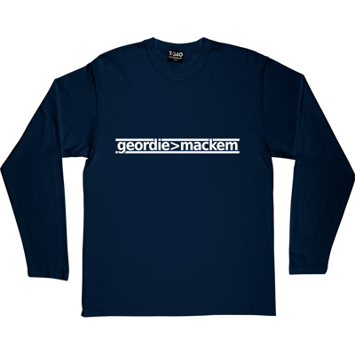 Geordie Greater Than Mackem Navy Blue Long-Sleeved Men's T-Shirt. The simple formulae are often the most fundamental...
