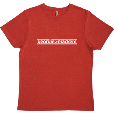 Geordie Greater Than Mackem Red 100% Recycled Men's T-Shirt. The simple formulae are often the most fundamental. This...