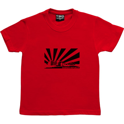 Geordie Republic Skyline Red Kids' T-Shirt. Stylised modern day image depicting the skyline of Newcastle-upon-Tyne... - click to zoom-in