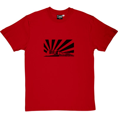Geordie Republic Skyline Red Men's T-Shirt. Stylised modern day image depicting the skyline of Newcastle-upon-Tyne... - click to zoom-in