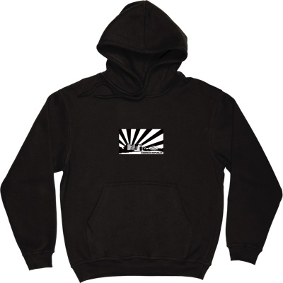 Geordie Republic Skyline Black Hooded-Top. Stylised modern day image depicting the skyline of Newcastle-upon-Tyne... - click to zoom-in