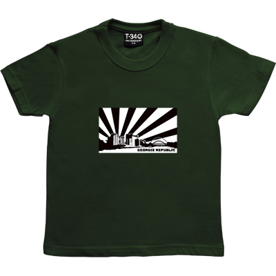 Geordie Republic Skyline Racing Green Kids' T-Shirt. Stylised modern day image depicting the skyline of...