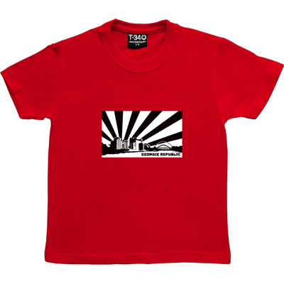 Geordie Republic Skyline Red Kids' T-Shirt. Stylised modern day image depicting the skyline of Newcastle-upon-Tyne...