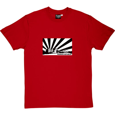 Geordie Republic Skyline Red Men's T-Shirt. Stylised modern day image depicting the skyline of Newcastle-upon-Tyne...