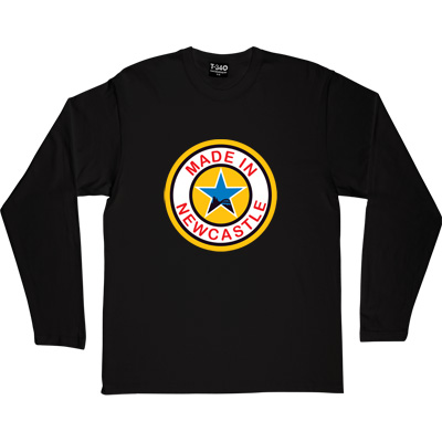 Made In Newcastle Black Long-Sleeved Men's T-Shirt. Were you made in Newcastle? Aye you say? Well here's your chance...