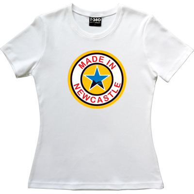Made In Newcastle White Women's T-Shirt. Were you made in Newcastle? Aye you say? Well here's your chance to tell the...