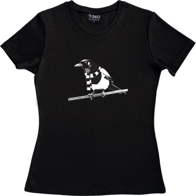 Magpie Black Women's T-Shirt. A Geordie Magpie wearing a black and white bar scarf.