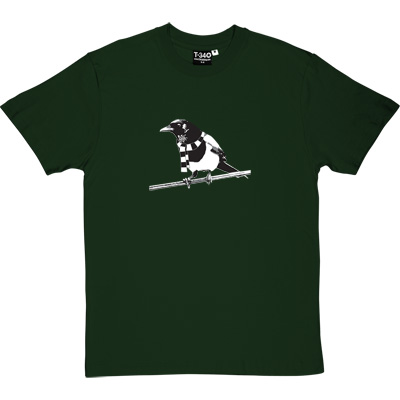 Magpie Racing Green Men's T-Shirt. A Geordie Magpie wearing a black and white bar scarf.