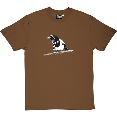 Magpie Brown/Hazelnut Men's T-Shirt. A Geordie Magpie wearing a black and white bar scarf.