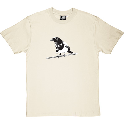 Magpie Linen/Natural Men's T-Shirt. A Geordie Magpie wearing a black and white bar scarf.