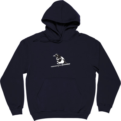 Magpie Navy Blue Hooded-Top. A Geordie Magpie wearing a black and white bar scarf.