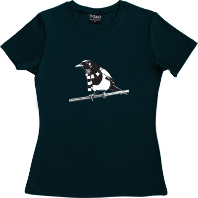 Magpie Navy Blue Women's T-Shirt. A Geordie Magpie wearing a black and white bar scarf.