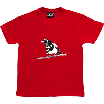 Magpie Red Kids' T-Shirt. A Geordie Magpie wearing a black and white bar scarf.