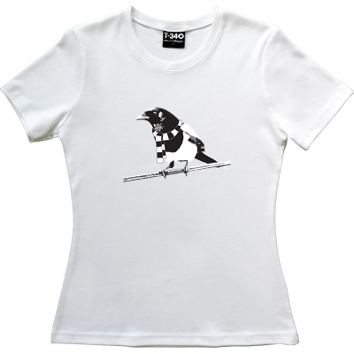 Magpie White Women's T-Shirt. A Geordie Magpie wearing a black and white bar scarf.