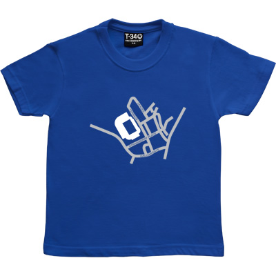 St James' Park Map Royal Blue Kids' T-Shirt. A stylised road map showing the roads around St James' Park, with the...