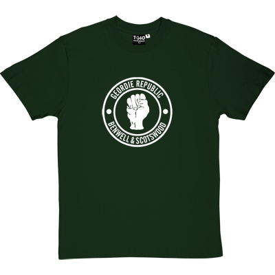 Geordie Republic Districts (White Print) Racing Green Men's T-Shirt. Be proud of your heritage with this design of the... - click to zoom-in
