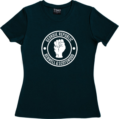 Geordie Republic Districts (White Print) Navy Blue Women's T-Shirt. Be proud of your heritage with this design of the... - click to zoom-in