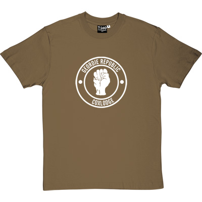 Geordie Republic Districts (White Print) Forest Green/Khaki Men's T-Shirt. Be proud of your heritage with this design of... - click to zoom-in