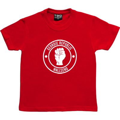 Geordie Republic Districts (White Print) Red Kids' T-Shirt. Be proud of your heritage with this design of the classic...