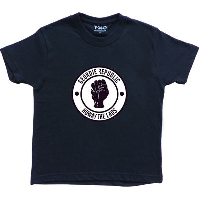 Geordie Republic Howay The Lads Navy Blue Kids' T-Shirt. Based on the famous Northern Soul clenched fist of the 1960s...