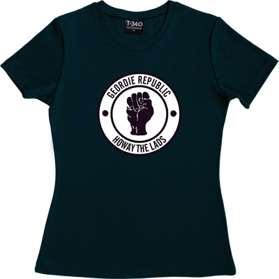 Geordie Republic Howay The Lads Navy Blue Women's T-Shirt. Based on the famous Northern Soul clenched fist of the 1960s...