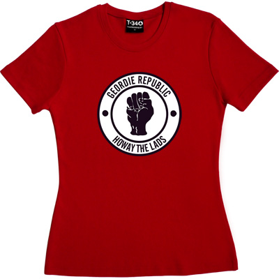 Geordie Republic Howay The Lads Red Women's T-Shirt. Based on the famous Northern Soul clenched fist of the 1960s, our...